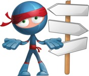 Cool Ninja Cartoon Vector Character AKA Sachi the Flexible - Crossroads
