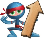 Cool Ninja Cartoon Vector Character AKA Sachi the Flexible - Pointer 2