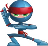 Cool Ninja Cartoon Vector Character AKA Sachi the Flexible - Battle Stance 1