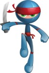 Cool Ninja Cartoon Vector Character AKA Sachi the Flexible - Battle Stance 2