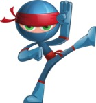 Cool Ninja Cartoon Vector Character AKA Sachi the Flexible - Kick 3