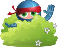 Cool Ninja Cartoon Vector Character AKA Sachi the Flexible - Stealth