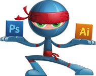 Cool Ninja Cartoon Vector Character AKA Sachi the Flexible - Professional
