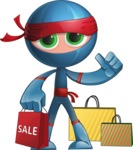 Cool Ninja Cartoon Vector Character AKA Sachi the Flexible - Sale 1