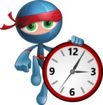 Cool Ninja Cartoon Vector Character AKA Sachi the Flexible - Time is Yours