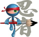 Cool Ninja Cartoon Vector Character AKA Sachi the Flexible - Creativity