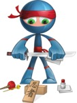 Cool Ninja Cartoon Vector Character AKA Sachi the Flexible - Repair