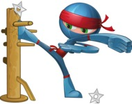 Cool Ninja Cartoon Vector Character AKA Sachi the Flexible - Training