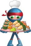 Cool Ninja Cartoon Vector Character AKA Sachi the Flexible - Sushi