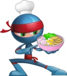 Cool Ninja Cartoon Vector Character AKA Sachi the Flexible - Ramen