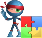 Cool Ninja Cartoon Vector Character AKA Sachi the Flexible - Puzzle