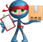 Cool Ninja Cartoon Vector Character AKA Sachi the Flexible - Delivery 1