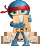 Cool Ninja Cartoon Vector Character AKA Sachi the Flexible - Delivery 2