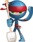 Cool Ninja Cartoon Vector Character AKA Sachi the Flexible - Music