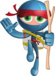 Cool Ninja Cartoon Vector Character AKA Sachi the Flexible - Travel
