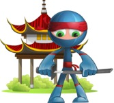 Cool Ninja Cartoon Vector Character AKA Sachi the Flexible - Temple