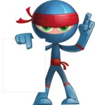Cool Ninja Cartoon Vector Character AKA Sachi the Flexible - Sign 2