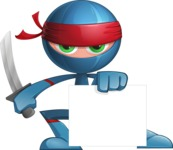 Cool Ninja Cartoon Vector Character AKA Sachi the Flexible - Sign 3