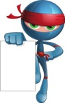 Cool Ninja Cartoon Vector Character AKA Sachi the Flexible - Sign 4