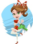 Pretty Christmas Girl Cartoon Vector Character - Being Attractive with Skates Illustration