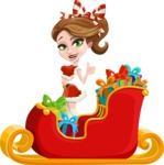 Pretty Christmas Girl Cartoon Vector Character - Christmas Sleigh