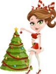 Pretty Christmas Girl Cartoon Vector Character - Decorating Christmas Tree