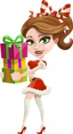 Pretty Christmas Girl Cartoon Vector Character - Giving Christmas Presents