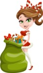 Pretty Christmas Girl Cartoon Vector Character - Holding Christmas Sack with Gifts