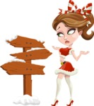 Pretty Christmas Girl Cartoon Vector Character - Making a Presentation on a Christmas Board
