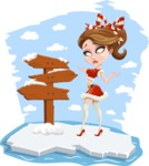 Pretty Christmas Girl Cartoon Vector Character - On an Iceberg Concept Illustration