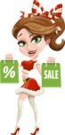 Pretty Christmas Girl Cartoon Vector Character - On Christmas Sale