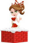 Pretty Christmas Girl Cartoon Vector Character - Popping out of a Chimney