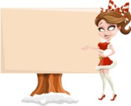 Pretty Christmas Girl Cartoon Vector Character - Presenting on a Blank Whiteboard for Christmas