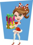 Pretty Christmas Girl Cartoon Vector Character - With Gifts on a Cool Background Illustration