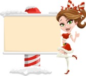 Pretty Christmas Girl Cartoon Vector Character - Showing a Blank Christmas Sign