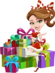 Pretty Christmas Girl Cartoon Vector Character - With a Lot of Presents
