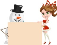 Pretty Christmas Girl Cartoon Vector Character - With Blank Sign on Christmas Theme
