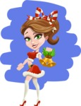 Pretty Christmas Girl Cartoon Vector Character - With Christmas Decoration Illustration Concept