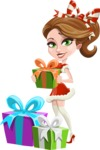 Pretty Christmas Girl Cartoon Vector Character - With Christmas Gifts