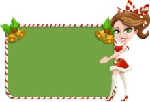 Pretty Christmas Girl Cartoon Vector Character - With Cool Christmas Board