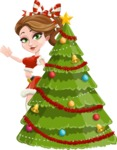 Pretty Christmas Girl Cartoon Vector Character - With Cool Christmas Tree