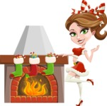 Pretty Christmas Girl Cartoon Vector Character - With Decorated Fireplace