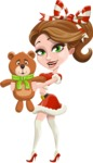 Pretty Christmas Girl Cartoon Vector Character - With Plush Bear Gift