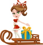 Pretty Christmas Girl Cartoon Vector Character - With Present on a Sleigh