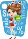 Pretty Christmas Girl Cartoon Vector Character - With Sale Sign Illustration