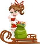 Pretty Christmas Girl Cartoon Vector Character - With Sleigh and Sack with Gifts