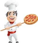 Chubby Chef Cartoon Vector Character AKA Rosmarinio Fluffy - Cooking Italian Pizza