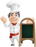 Chubby Chef Cartoon Vector Character AKA Rosmarinio Fluffy - With Blank Menu Board