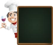 Chubby Chef Cartoon Vector Character AKA Rosmarinio Fluffy - With Dinner Menu Board