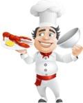 Chubby Chef Cartoon Vector Character AKA Rosmarinio Fluffy - Serving Lobster